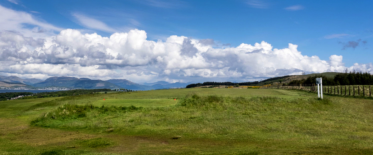 The 14th tee looking north down the fairway on a fine early summer day.