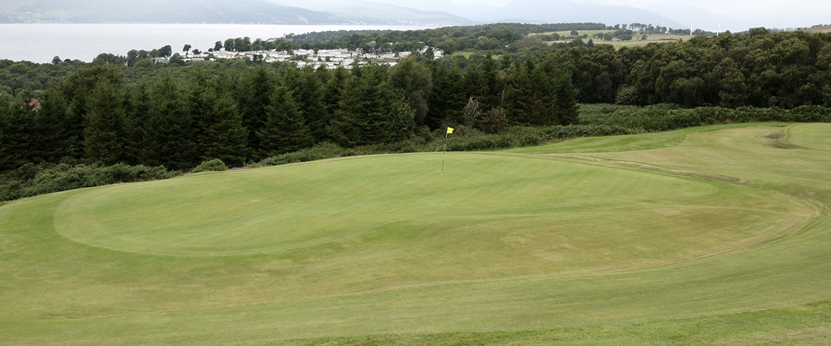 The green of the very testing par 4 second hole from the 17th tee.
