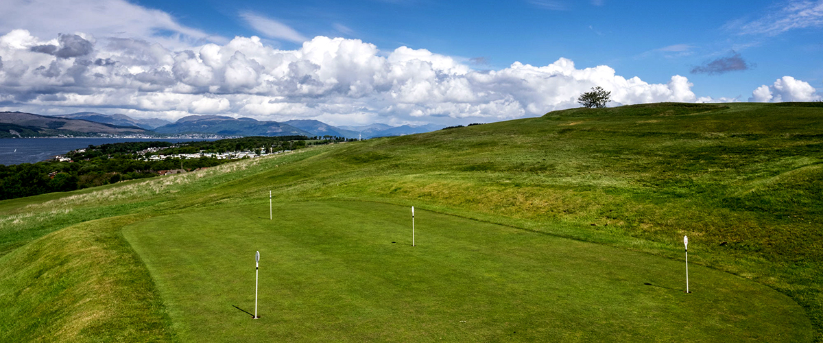 The small but tricky practice green next to the clubhouse.