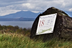 The 18th tee and the stunning mountains of the Island of Arran.