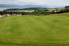 Looking down at the 17th green from the 18th tee.