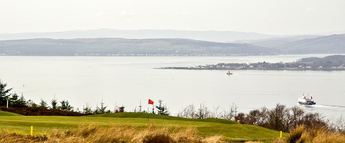 The 11th green and beyond to Rothesay on Bute.
