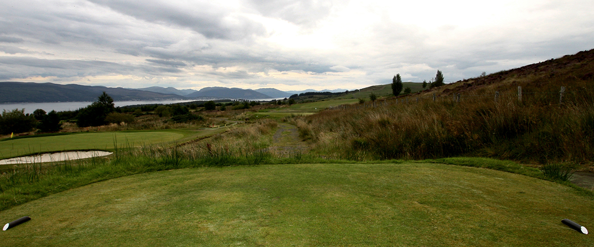 The slightly challenging tee shot faced on the 9th.
