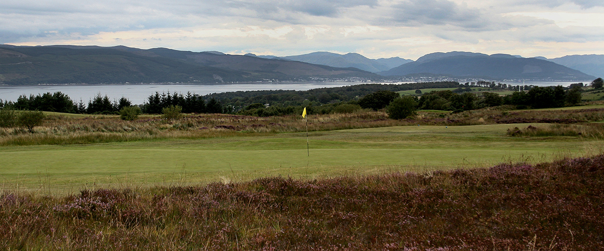 The wonderfully sloped 9th green from just right of the usual approach.