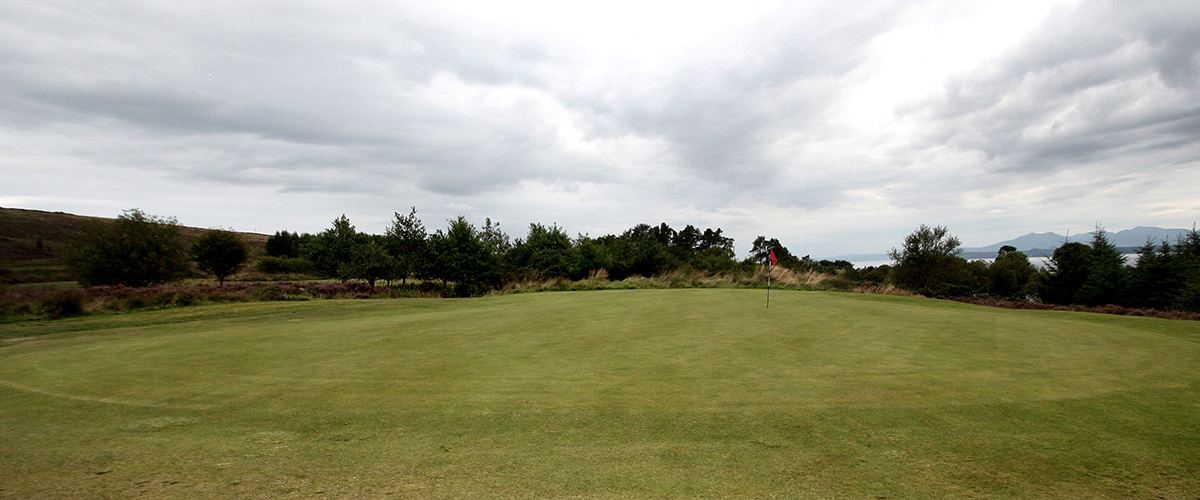 Front approach to the long but narrow 12th green.