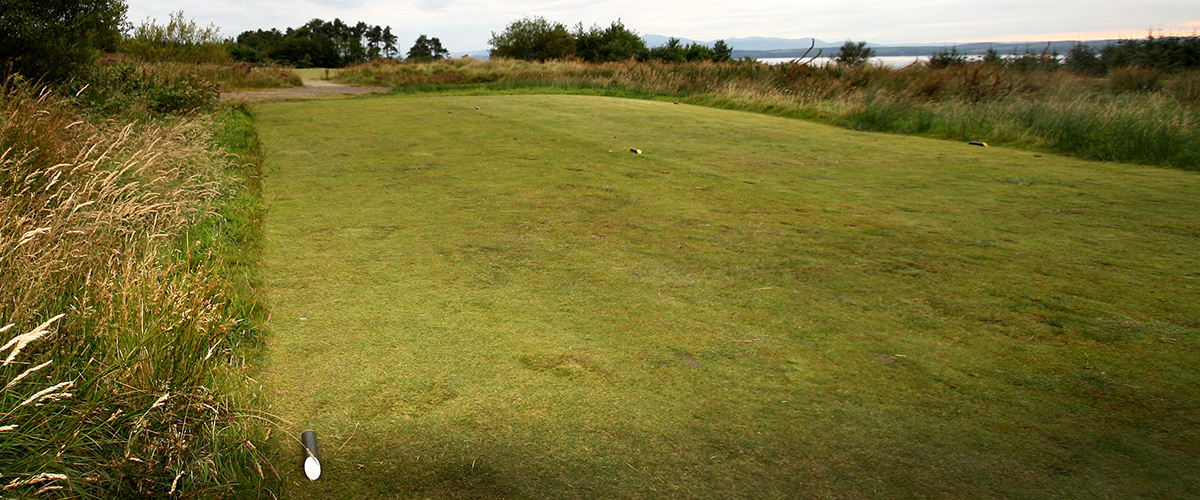 The teeing ground for the short par 4 - 13th hole.