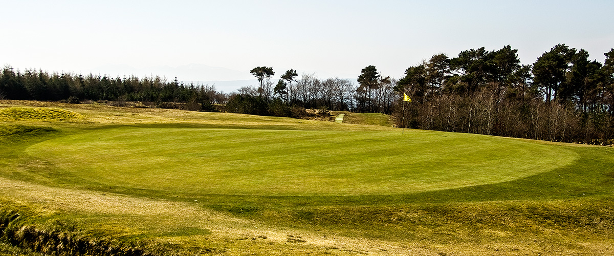 Behind the 8th green looking back to the tee under winter conditions.