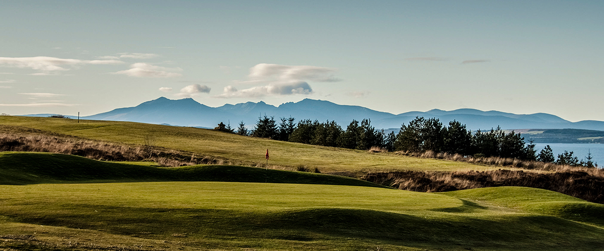 11th Green from The Tee and the Mountains of Arran